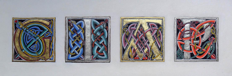Initiales G, I, A, P – Lettres enluminées