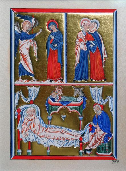 Psautier d'ingeburge – Annonciation, visitation, gésine