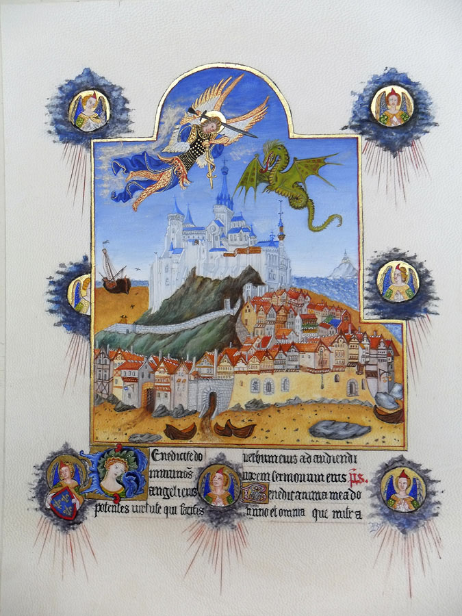 Reproduction du folio 195r du manuscrit des Très Riches Heures du duc de Berry