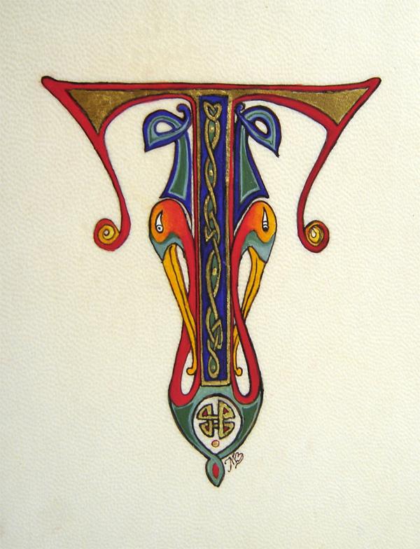 Initiale T d'inspiration celtique