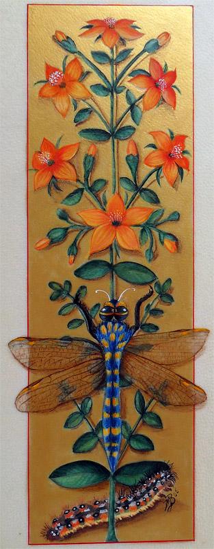 Enluminure : libellule tirée des Grandes heures d'Anne de Bretagne