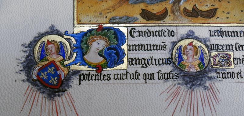 Initiale B et médaillons d'anges. Très Riches Heures du duc de Berry.