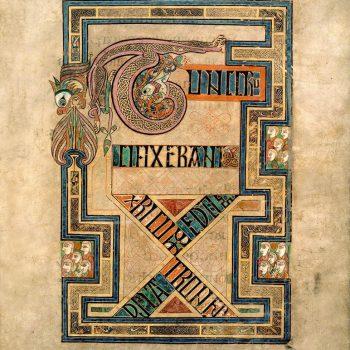 Crucifixion de Jésus Christ. Evangile de Saint-Matthieu (folio 124r du livre de Kells).