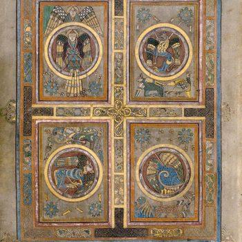 Représentation des quatre évangélistes (Matthieu, Marc, Luc et Jean). Folio 129v du livre de Kells.