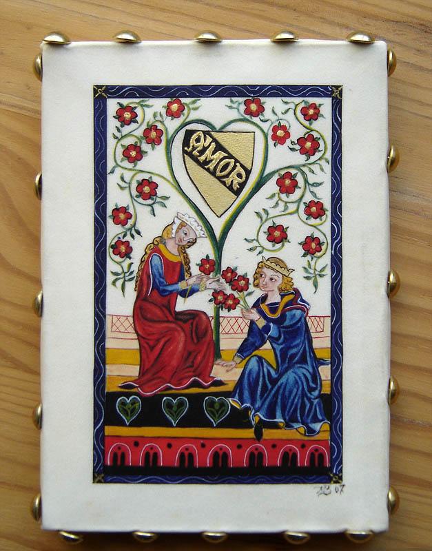 Amor - Enluminure clouée sur bois - Codex Manesse