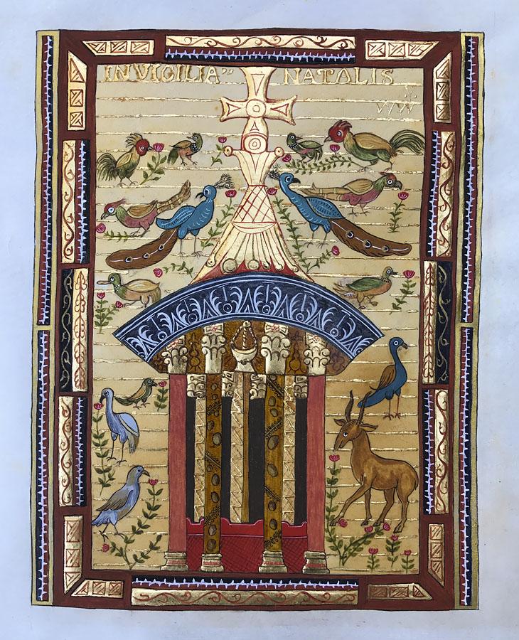 La fontaine de vie. Évangéliaire de Charlemagne.