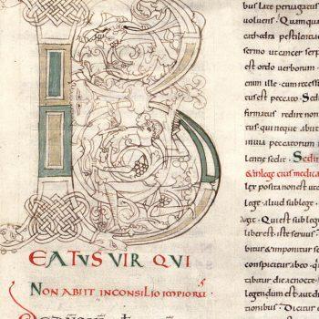 Lettrine B. Traité des psaumes de Saint Augustin.