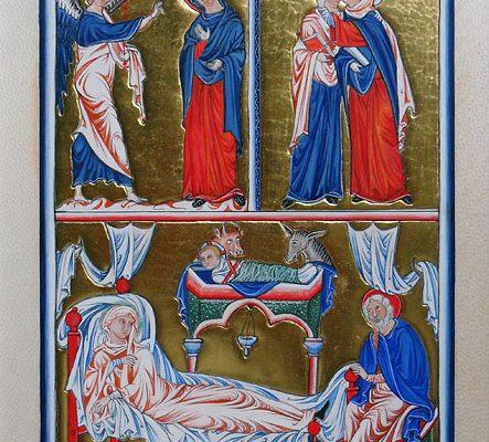 Psautier d' ingeburge – Annonciation, visitation, gésine (enluminure)